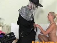 Halloween's porn casting with cute blonde