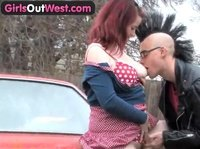 Redhead girlfriend making out in public
