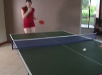 Young and mature ladies making out in table tennis game
