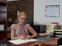 Blonde secretary fucked by the black boss