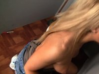 Horny blonde started to masturbate and found glory hole