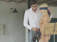 Blindfolded blonde is giving awesome fuck