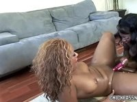 Two ebony black girls rubbing clits and making themselves wet