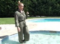 Hot woman fucking her pool guy into her pool