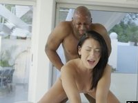 Cute girl fucked by black cock and getting cumshot
