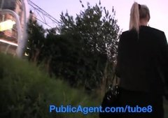 Russian whore gets fucked and swallows cum outside