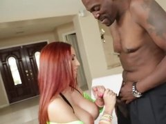 Hot red head fucking by big black dick