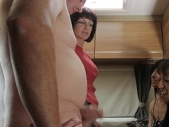 Mature husband bangs two chick in front of wife