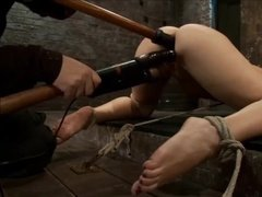 Horny girl gets it in pussy and ass in bondage fun