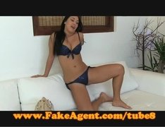 Brunette with round tits banged on casting couch