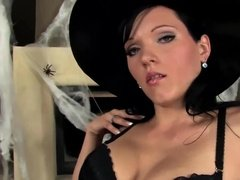 Brunette masturbates in Halloween