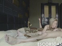 Mature guy fucks young whore on hotel bed