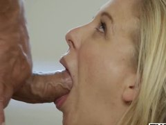 Blonde gives her man a juicy deep throat