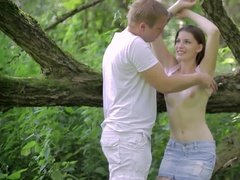 Young couple fucked hard in a jungle