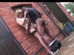 Black dude bangs stranger girl up against the wall