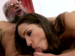Grandpa fucks young brunette chick