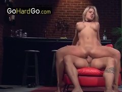 Girl with choker fucked on red couch