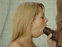 Chocolate Pole Penetrates Pink Holes