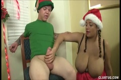 Green Elf Gets a Handjob from Miss Huge Tits