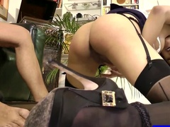 Ebony Secretary Seduces Old Boss with her High Heels