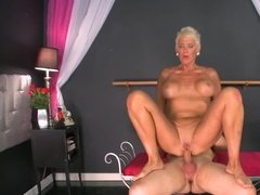 Athletic Granny Rides Young Dick