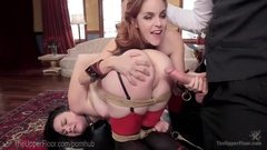 Two horny girls fucked in bondage