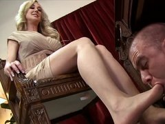 Hot milf mistress and her foot slave