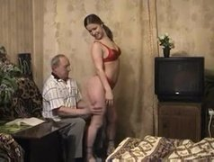 Old russian man fucks horny whore