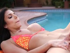Lesbian poolside fun gone wild