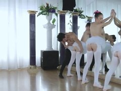Three ballet dancer fucked hard by their instructor