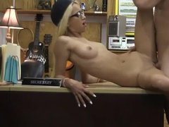 Blonde girl fucked on a counter top