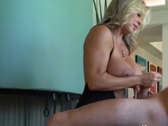 Busty mature plays with nice cock