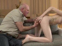 Old pervert fucking horny skinny girl