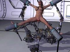 Cartoon girl enjoys robot bondage fun