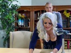 Blonde teacher fucked from behind